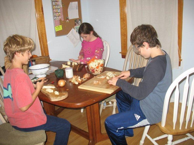 1-kids helping chop veggies for dinner